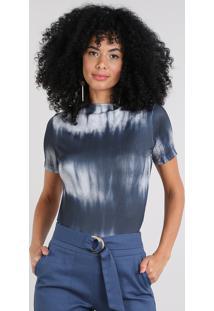 Blusa Feminina Canelada Estampada Tie Dye Manga Curta Decote Canoa Azul Marinho
