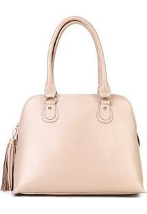 Bolsa Couro Shoestock Média Handbag Feminina - Feminino-Bege