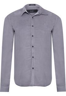 Camisa Masculina Light Corduroy Slim - Cinza