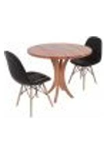 Conjunto Mesa De Jantar Tampo De Madeira 90Cm Com 2 Cadeiras Botonê - Preto