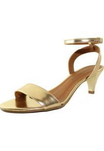 Sandália Salto Baixo Fino Napa Mod Feminina - Feminino-Dourado