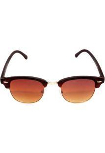 Óculos De Sol Khatto Clubmaster Classic Feminino - Feminino-Marrom
