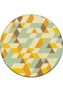 Tapete Love Decor Redondo Wevans Illusion Triângulos Amarelo 84Cm