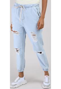 Calça Jeans Feminina Jogger Cintura Alta Destroyed Com Cordão Azul Claro