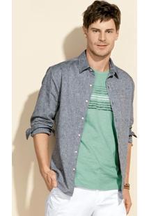 Camisa Masculina Slim Em Tecido De Linho Com Fio Tinto