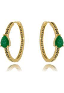 Argola Soloyou Dourada Esmeralda Fusion Gota E Zircã´Nia Preta Semijoia Ouro Verde - Verde - Feminino - Dafiti
