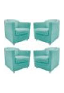 Kit 04 Poltronas Decorativas Tilla Suede Azul Tiffany - Amarena Móveis
