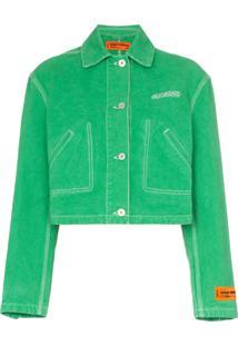 Heron Preston Ctnmb Embroidered Cropped Denim Jacket - Green