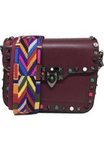 Bolsa Casual Transversal Alça Colorida Sys Fashion 830302 Vinho