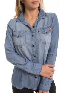 Camisete Jeans Z-32 Basica Feminina - Feminino-Azul