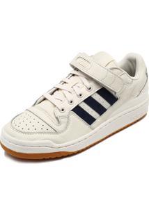 Tênis Couro Adidas Originals Forum Low Branco/Azul-Marinho