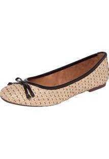 Sapatilha Dafiti Shoes Matelassê Laço Bege