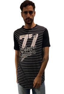 Camiseta 775 Listrada Alongada - Preto
