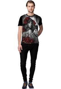Camiseta Stompy Looking Masculino - Masculino-Preto+Vermelho