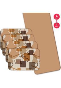 Jogo Americano Love Decor Com Caminho De Mesa Wevans Café Master Kit Com 4 Pçs 1 Trilho