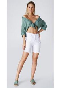 Bermuda Jeans Express Mom White - Feminino-Branco