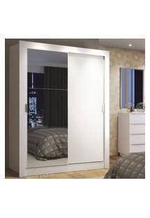 Guarda-Roupa Solteiro Madesa Denver 2 Portas De Correr Com Espelho Branco Branco