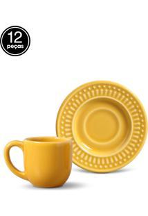 Conjunto 12Pçs Xícaras De Café 75Ml Porto Brasil Roma Amarelo