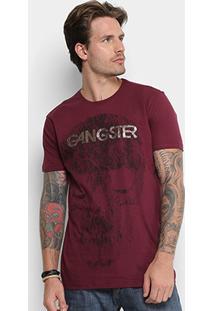 Camiseta Gangster Caveira Masculina - Masculino-Vinho