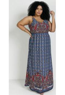 Vestido Longo Étnico Com Alças Duplas Plus Size
