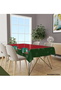 Toalha De Mesa Retangular Para 8 Lugares Papai Noel Com Boneco De Neve 1.45M X 2.70M ÚNico - Multicolorido - Dafiti