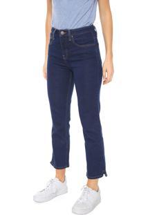 Calça Jeans Calvin Klein Jeans Reta Cropped Pespontos Azul