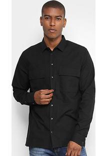 Camisa Forum Bolso Quadrado Masculina - Masculino-Preto