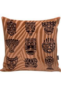 Capa De Almofada African Masks- Marrom Claro & Marrom