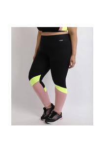 Calça Legging Feminina Plus Size Esporte Ace Com Recorte Lateral Cintura Alta E Bolso Preta