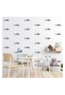 Adesivo Decorativo De Parede - Kit Com 55 Tubarão - 026Kaa07