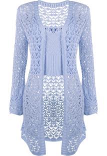 Conjunto Outletdri Top E Kimono Curto Tricô Azul