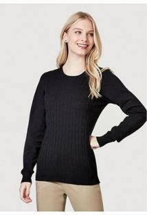 Blusão Básico Em Tricô Com Textura Feminino - Feminino
