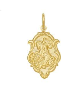 Pingente Prata Mil São Jorge Estampado Em Moldura Dourado