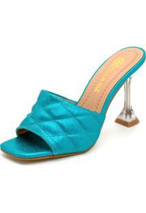 Sandália Tamanco Salto Taça Transparente Bico Quadrado Em Craquelê Azul Claro