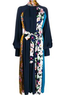 Roksanda Vestido Com Pregas E Estampa Floral - Azul