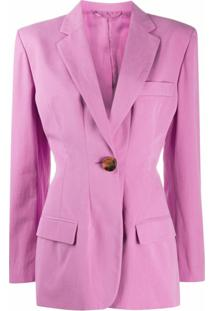 The Attico Blazer Donna Com Abotoamento Simples - Rosa