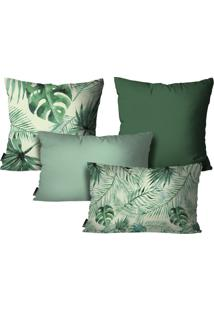 Kit Mdecore Com 4 Capas Para Almofadas Floral Verde