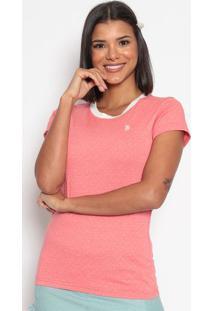 Camiseta Poã¡ Com Bordado - Coral & Brancaus Polo