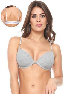 Sutiã Calvin Klein Underwear Meia-Taça Modern Cinza/Branco