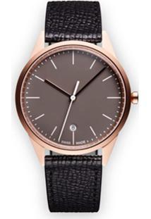 Uniform Wares Relógio 'C36 Date' De Couro E Aço Inoxidável - Preto
