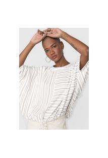 Blusa Calvin Klein Listrada Off-White/Bege