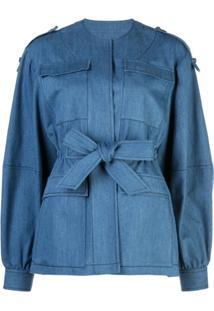 Derek Lam Jaqueta Jeans Com Cinto - Azul