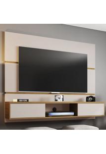 Painel Para Tv Até 60 Polegadas 2 Portas Âmbar Off White/Cinamomo - Móveis Bechara