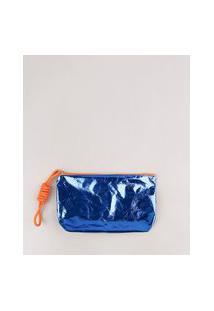 Necessaire Feminina Metalizada Com Cordão Azul