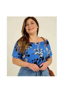 Blusa Plus Size Feminina Ciganinha Estampa Floral Manga Curta