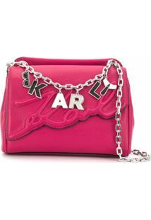 Karl Lagerfeld Bolsa Tiracolo K/Signature Pequena - Rosa