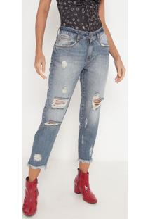 Jeans Reto Estonado Com Destroyed- Azul- My Favoritemy Favorite Things