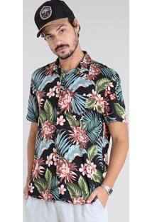Camisa Masculina Estampada Tropical Com Bolso Manga Curta Preta
