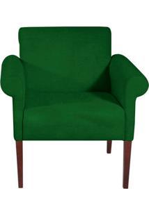 Poltrona Decorativa Verde Em Veludo Nacar