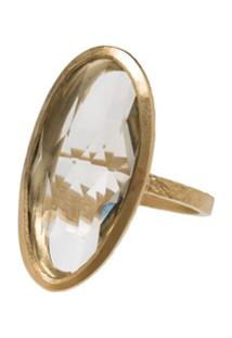 5 Octobre Gold Plated Ara Oval Ring - Dourado